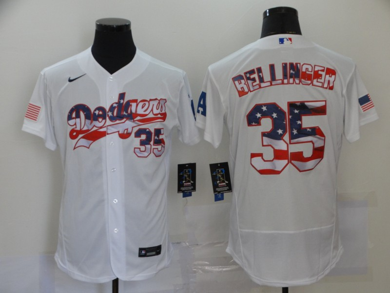 Dodgers 35 Cody Bellinger White USA Flag Fashion Nike Cool Base Jersey