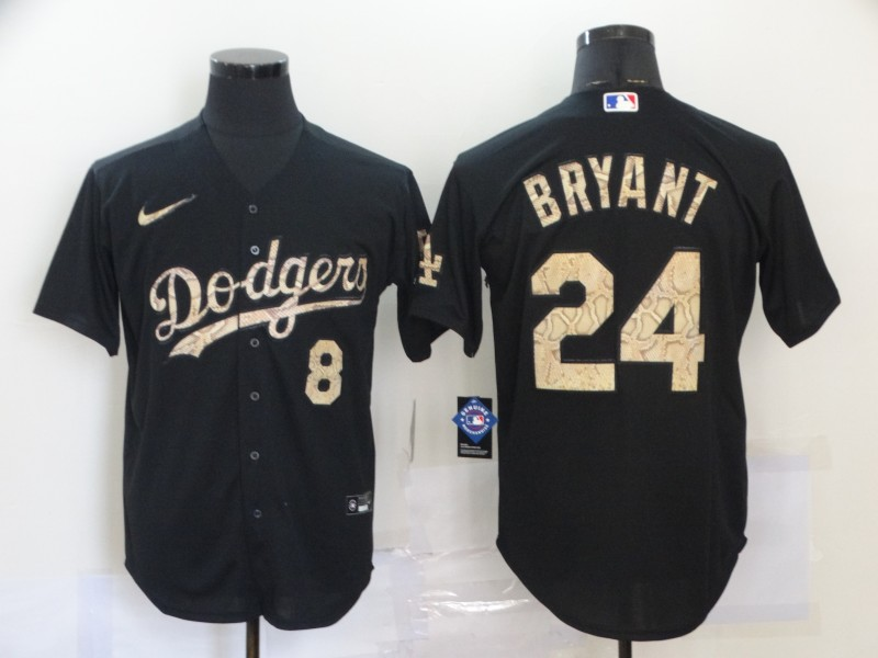 Dodgers 8 & 24 Kobe Bryant Black Camo 2020 Nike Cool Base Jersey