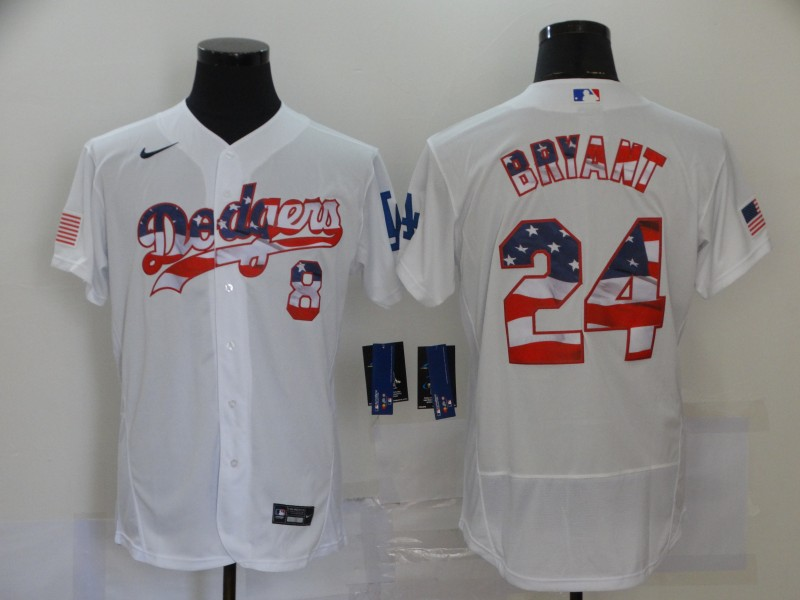 Dodgers 8 & 24 Kobe Bryant White USA Flag Fashion Nike Cool Base Jersey