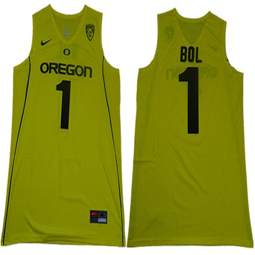 Ducks #1 Bol Bol Yellow Limited Stitched College Jersey