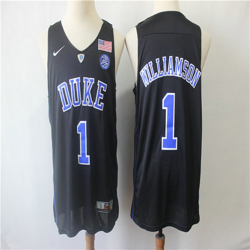 Duke Blue Devils 1 Zion Williamson Black College Basketball Jersey