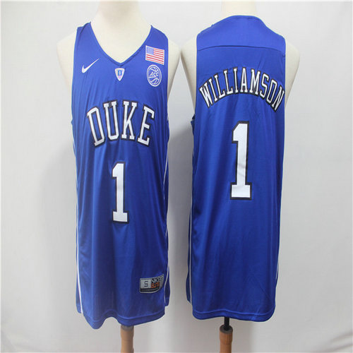 Duke Blue Devils 1 Zion Williamson Blue College Basketball Jersey