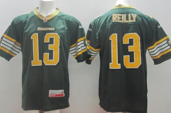 Edmonton Eskimos 13 Mike Reilly Green Home CFL Jersey