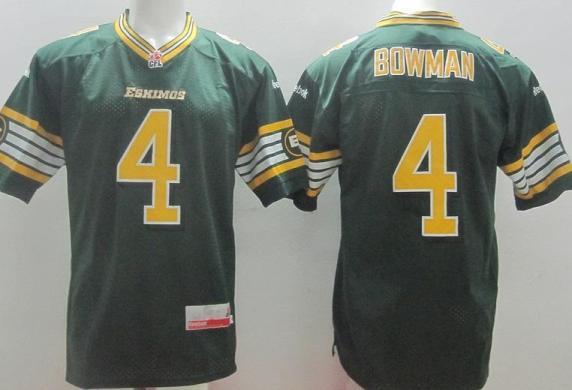 Edmonton Eskimos 4 Adarius Bowman Green CFL Jerseys