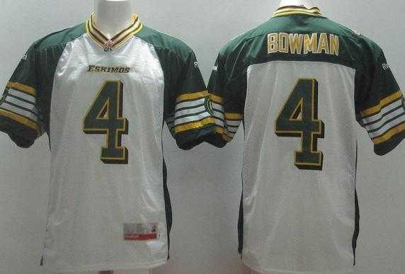 Edmonton Eskimos 4 Adarius Bowman White CFL Jerseys