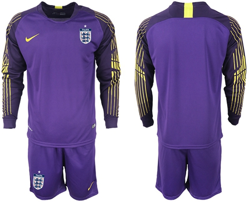 England Blank Purple Goalkeeper Long Sleeves Soccer Country Jersey