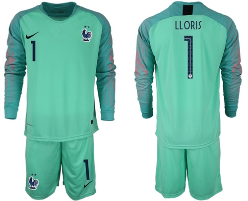 France #1 LLORIS Green Goalkeeper Long Sleeves Soccer Country Jersey