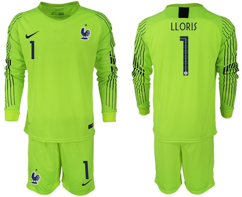 France #1 LLORIS Shiny Green Goalkeeper Long Sleeves Soccer Country Jersey