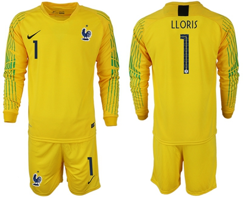 France #1 LLORIS Yellow Goalkeeper Long Sleeves Soccer Country Jersey