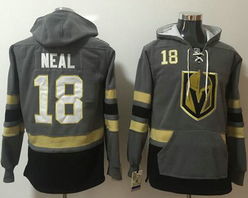 Golden Knights #18 James Neal Grey Name  Number Pullover NHL Hoodie