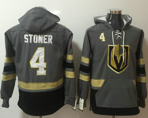 Golden Knights #4 Clayton Stoner Grey Name  Number Pullover NHL Hoodie