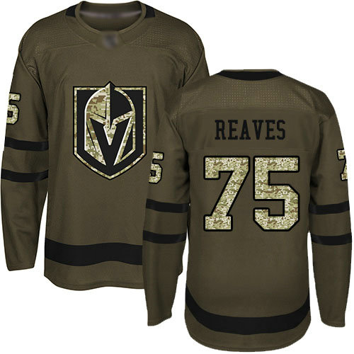 Golden Knights #75 Ryan Reaves Green Salute to Service Stitched Youth Hockey Jersey