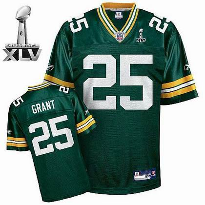 Green Bay Packers #25 Ryan Grant Green Team Color 2011 Super Bowl XLV Jersey green