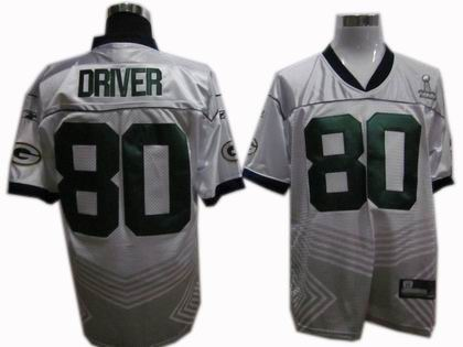 Green Bay Packers 80# Donald Driver 2011 champions fashion super bowl XLV jersey white