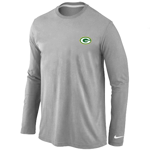 Green Bay Packers Sideline Legend Authentic Logo Long Sleeve T-Shirt Grey