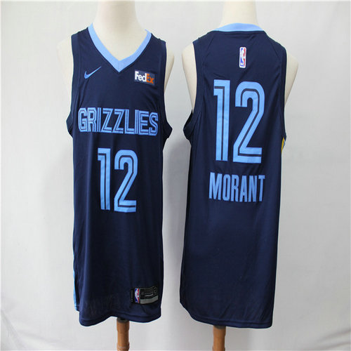 Grizzlies 12 Ja Morant Navy City Edition Nike Swingman Jersey