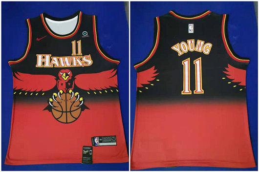 Hawks 11 Trae Young Red Nike Throwback Swingman Jersey