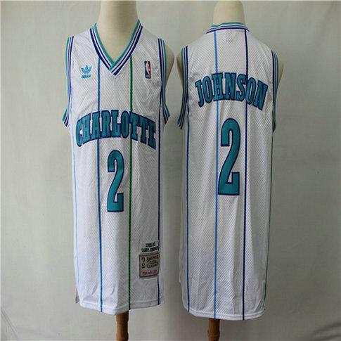Hornets 2 Larry Johnson White 1992-93 Hardwood Classics Jersey