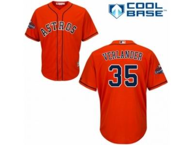Houston Astros #35 Justin Verlander Orange 2017 World Series Champions Cool Base MLB Jersey