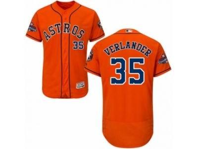 Houston Astros #35 Justin Verlander Orange 2017 World Series Champions Flex Base MLB Jersey