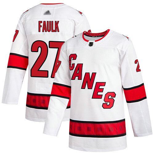 Hurricanes #27 Justin Faulk White Road Authentic Stitched Youth Hockey Jersey