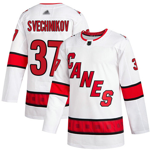 Hurricanes #37 Andrei Svechnikov White Road Authentic Stitched Youth Hockey Jersey