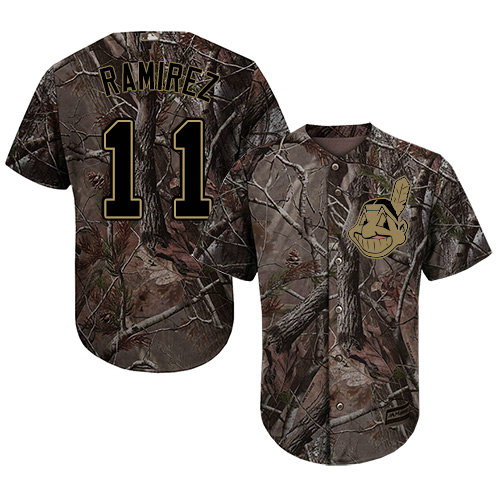 Indians #11 Jose Ramirez Camo Realtree Collection Cool Base Stitched Youth Baseball Jersey