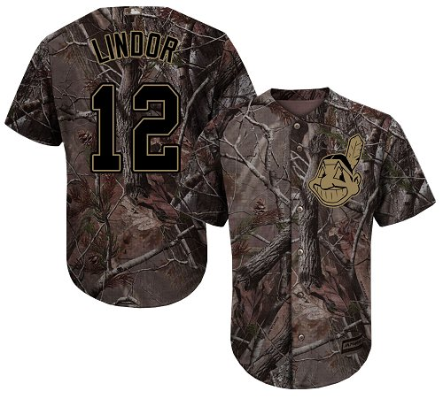 Indians #12 Francisco Lindor Camo Realtree Collection Cool Base Stitched Youth Baseball Jersey