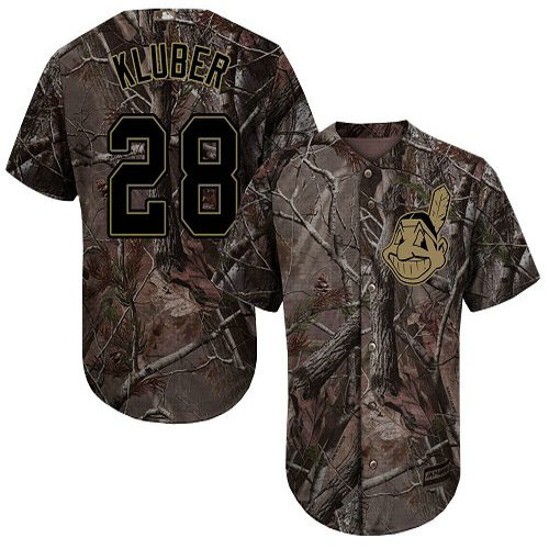 Indians #28 Corey Kluber Camo Realtree Collection Cool Base Stitched Youth Baseball Jersey
