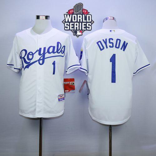 Kansas City Royals 1 Jarrod Dyson White Cool Base 2015 World Series Patch MLB Jersey