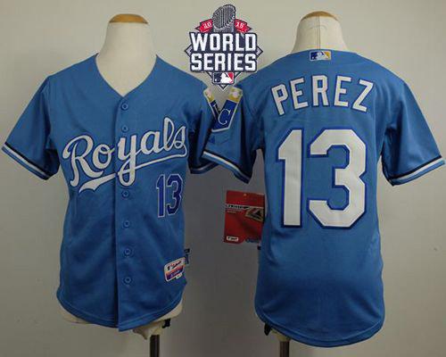 Kansas City Royals 13 Salvador Perez Light Blue Cool Base Alternate 1 2015 World Series Patch Kid MLB Jersey