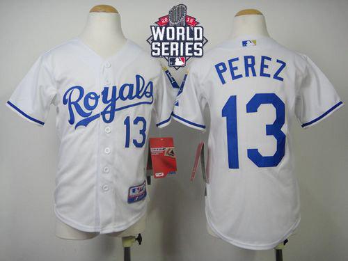 Kansas City Royals 13 Salvador Perez White Cool Base 2015 World Series Patch Kid MLB Jersey