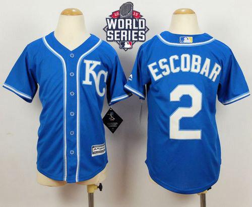 Kansas City Royals 2 Alcides Escobar Blue Alternate Cool Base 2015 World Series Patch Kid MLB Jersey