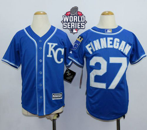 Kansas City Royals 27 Brandon Finnegan Blue Alternate Cool Base 2015 World Series Patch Kid MLB Jersey