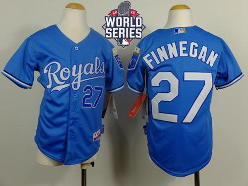 Kansas City Royals 27 Brandon Finnegan Light Blue Cool Base Alternate 1 2015 World Series Patch Kid MLB Jersey