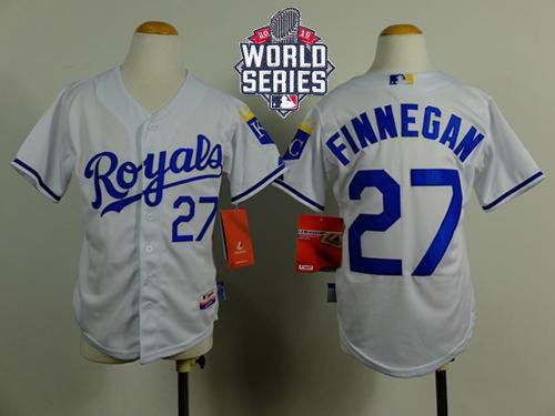 Kansas City Royals 27 Brandon Finnegan White Cool Base 2015 World Series Patch Kid MLB Jersey