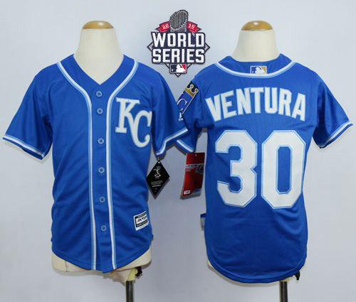 Kansas City Royals 30 Yordano Ventura Blue Cool Base 2015 World Series Patch Kid MLB Jersey