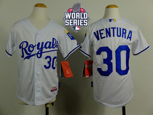 Kansas City Royals 30 Yordano Ventura White Cool Base 2015 World Series Patch Kid MLB Jersey