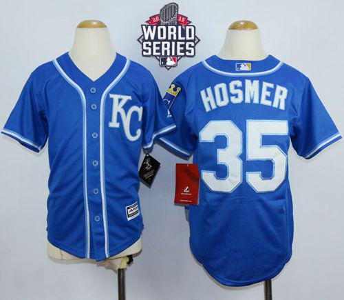 Kansas City Royals 35 Eric Hosmer Blue Alternate Cool Base 2015 World Series Patch Kid MLB Jersey