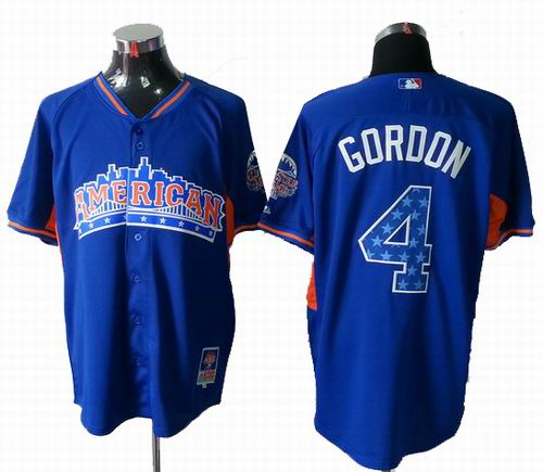 Kansas City Royals 4# Alex Gordon American League 2013 All Star blue Jersey