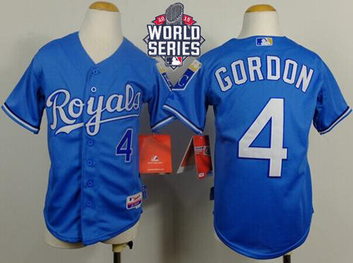 Kansas City Royals 4 Alex Gordon Light Blue Cool Base Alternate 1 2015 World Series Patch Kid MLB Jersey