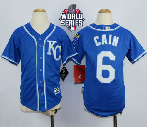 Kansas City Royals 6 Lorenzo Cain Blue Alternate Cool Base 2015 World Series Patch Kid MLB Jersey