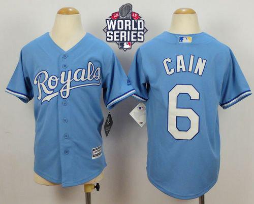 Kansas City Royals 6 Lorenzo Cain Blue Cool Base Alternate 1 2015 World Series Patch Kid MLB Jersey