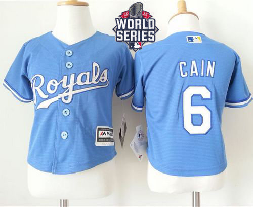 Kansas City Royals 6 Lorenzo Cain Light Blue Alternate Cool Base 2015 World Series Patch Toddler MLB Jersey