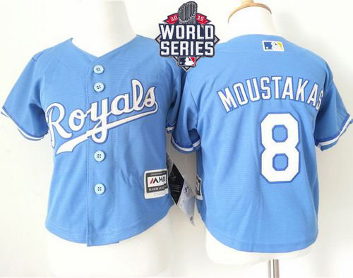 Kansas City Royals 8 Mike Moustakas Light Blue Alternate Cool Base 2015 World Series Patch Toddler MLB Jersey