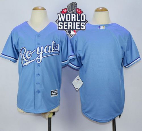 Kansas City Royals Blank Light Blue Alternate Cool Base 2015 World Series Patch Kid MLB Jersey