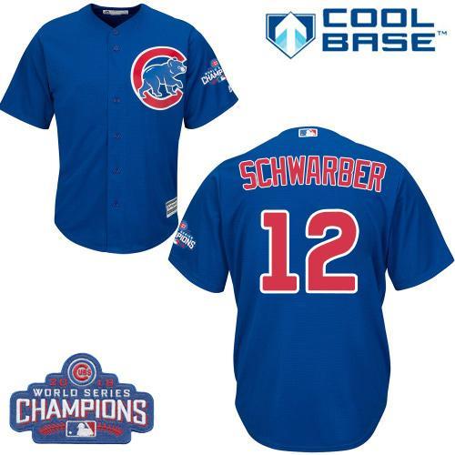 Kid Chicago Cubs 12 Kyle Schwarber Blue Alternate 2016 World Series Champions MLB Jersey
