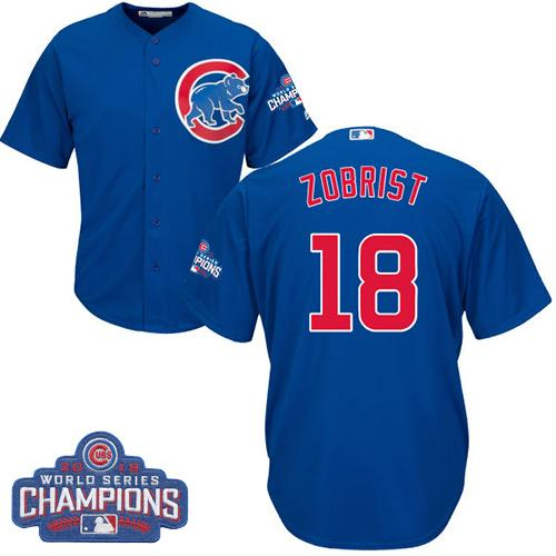 Kid Chicago Cubs 18 Ben Zobrist Blue Alternate 2016 World Series Champions MLB Jersey