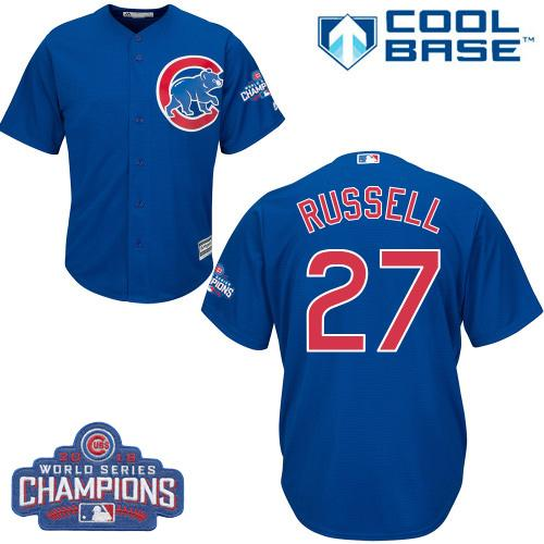 Kid Chicago Cubs 27 Addison Russell Blue Alternate 2016 World Series Champions MLB Jersey