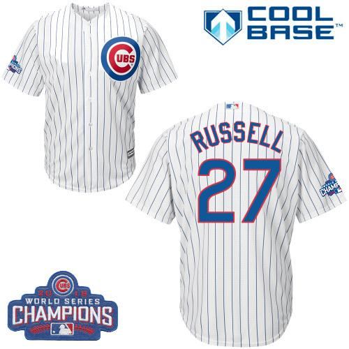 Kid Chicago Cubs 27 Addison Russell White Home 2016 World Series Champions MLB Jersey